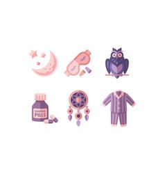 sleep time objects for sleepmoon and stars mask vector image