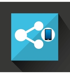 smartphone share social network media icon vector image