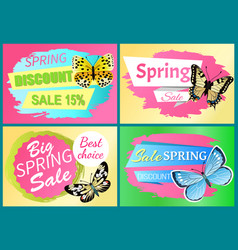 spring sale labels set butterfly ornament on wings vector image