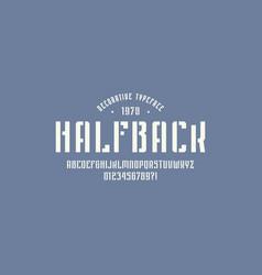 Stencil-plate narrow sans serif font in sport vector