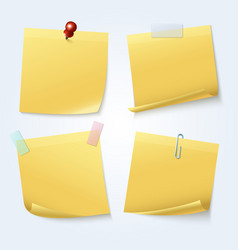 sticky note pages yellow papers set vector image