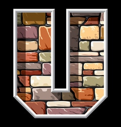 stone letter U vector image