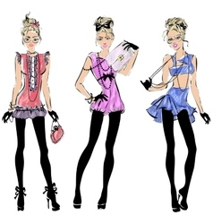 Street fashion woman models in sketch style vector image vector image
