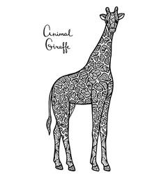 Stylized giraffe zentangle isolated on white vector image