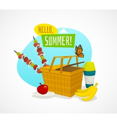 Summer picnic concept cartoon basket with food vector image