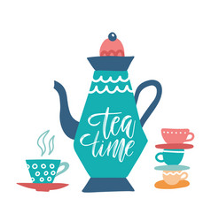 tea time and decorated teapot hand drawn vector image