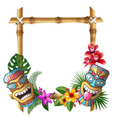 Tiki mask and frame hawaii authentic background vector