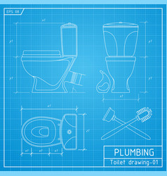 Toilet bowl outline front side and top view vector