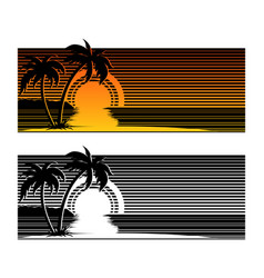 tropical beach sunset with palm trees vector image