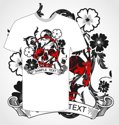Tshirt skull and flower vector
