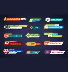 Tv news bars set breaking special report sport vector