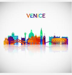 Venice skyline silhouette in colorful geometric vector
