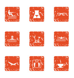 Water jaunt icons set grunge style vector
