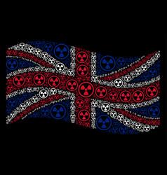 waving great britain flag pattern of radioactive vector image