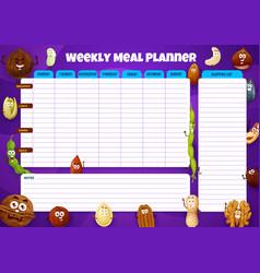 Weekly meal planner food plan for week vector