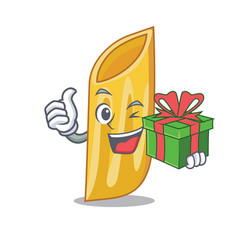 With gift penne pasta character cartoon vector