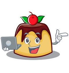 With laptop pudding character cartoon style vector
