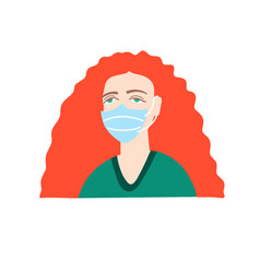 Woman with bright red hair in a medical mask vector