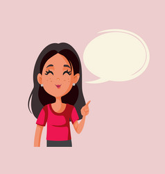 woman with speech bubble and pointed finger vector image