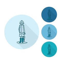 Woman with Umbrella and Raincoat on the Puddle vector image