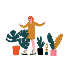 Young woman selling house plants at marketplace or vector