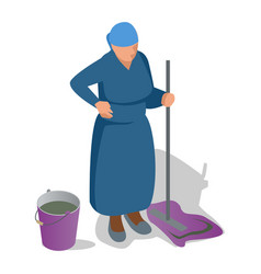 An old woman with a mop in her hand and a bucket vector