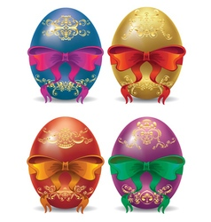 Colorful Eggs with Bows2 vector image vector image