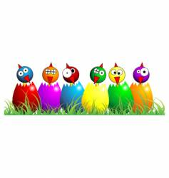Easter chicks over white vector image vector image