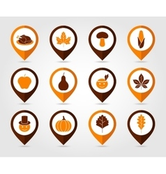 Thanksgiving Harvest mapping pin icon set vector image vector image