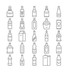 alcohol drink bottles and beverage line vector image