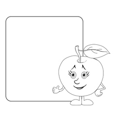 Character apple and poster outline vector image