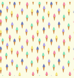 cute pattern with ice cream in a waffle cone vector image