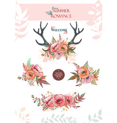 set of summer bouquets and wreaths vector image