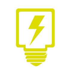 silhouette square light bulb with ray icon inside vector image