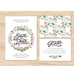 Wedding set with watercolor flowers and hand drawn vector image vector image