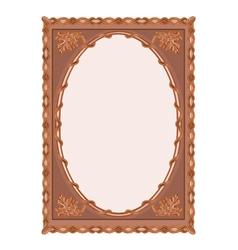 Wooden frame carved oak leaf vintage vector image vector image