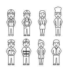 worker set - office worker chef doctor fireman vector image