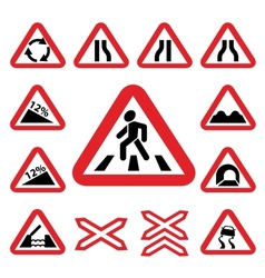 color traffic auto signs set vector image vector image