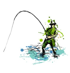 Colored hand drawing fisherman vector