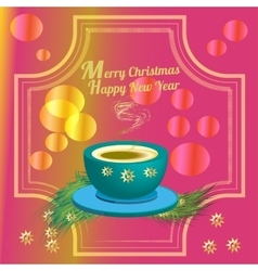 Cup of coffee and christmas decoration vector image vector image