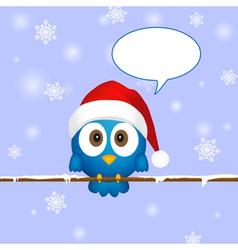 Cute blue christmas bird vector image