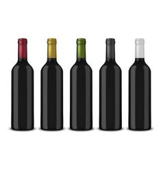 set 5 realistic black bottles of wine vector image