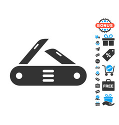 swiss multitool knife icon with free bonus vector image
