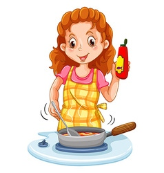 Woman cooking with a pan vector image