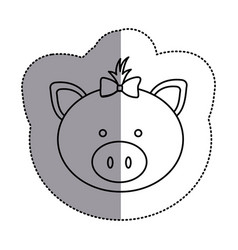 contour face pig ribbon bow head icon vector image