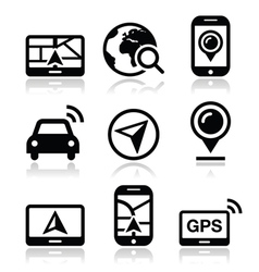 GPS navigation travel icons set vector image vector image