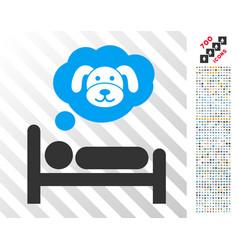 puppy dream flat icon with bonus vector image