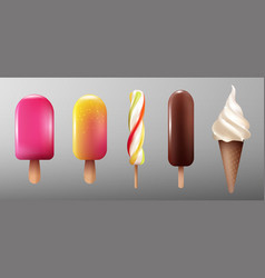 realistic ice cream collection vector image