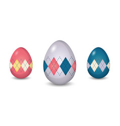 set of argyle pattern painted easter eggs vector image