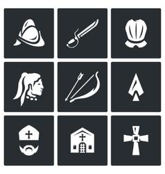 Set of Spanish Conquistador Icons Helmet vector image vector image